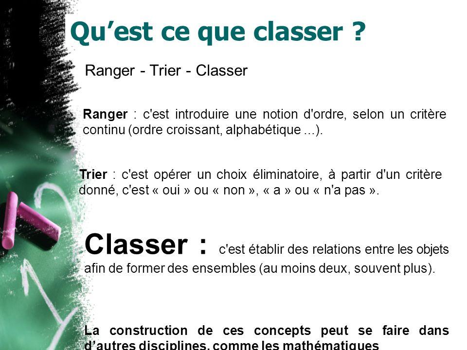 Quest ce que classer ? Ranger - Trier - Classer Ranger : c'est introduire une notion d'ordre, selon un critère continu (ordre croissant, alphabétique.