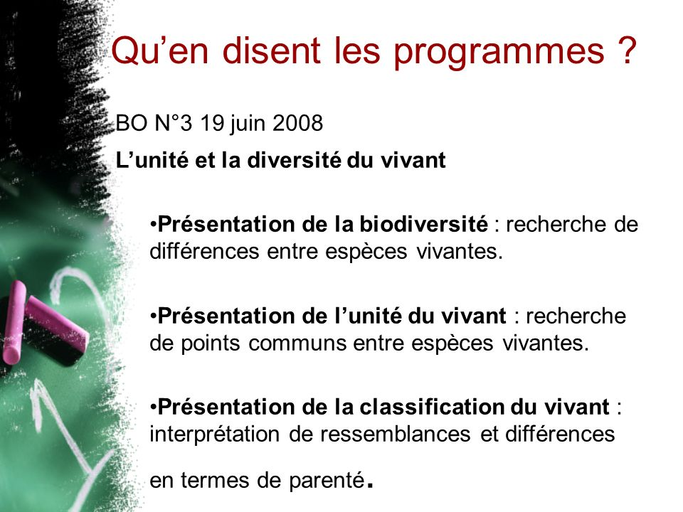Quen disent les programmes ? BO N°3 19 juin 2008 Lunité et la diversité du vivant Présentation de la biodiversité : recherche de différences entre esp