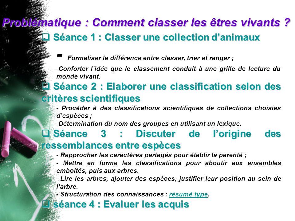 Séance 1 : Classer une collection danimaux Séance 1 : Classer une collection danimaux - Formaliser la différence entre classer, trier et ranger ; -Con