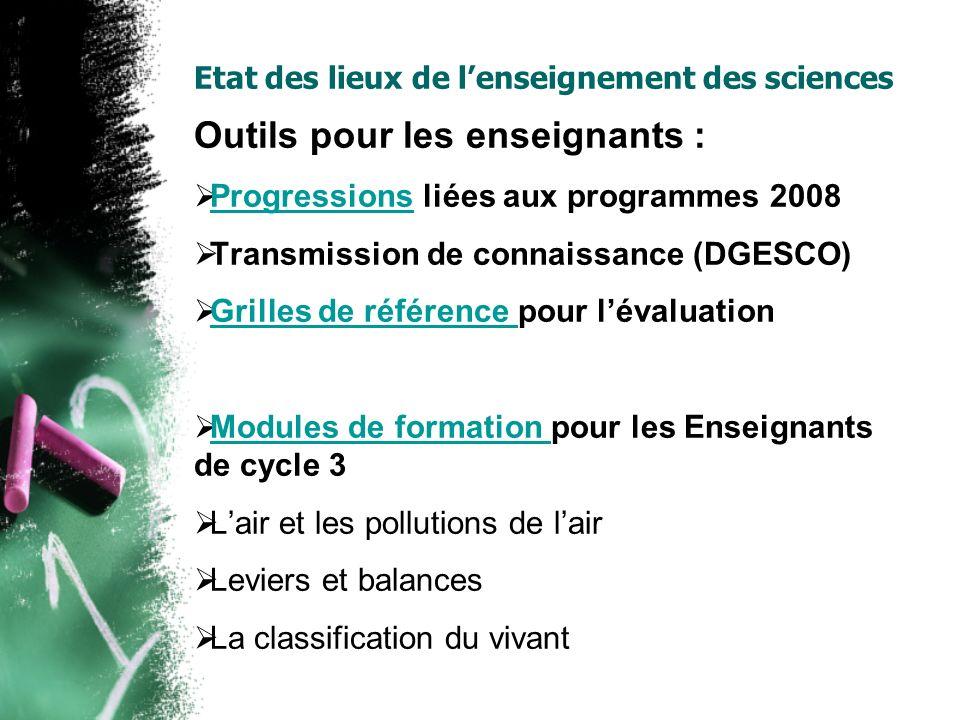 Etat des lieux de lenseignement des sciences Outils pour les enseignants : Progressions liées aux programmes 2008 Progressions Transmission de connais