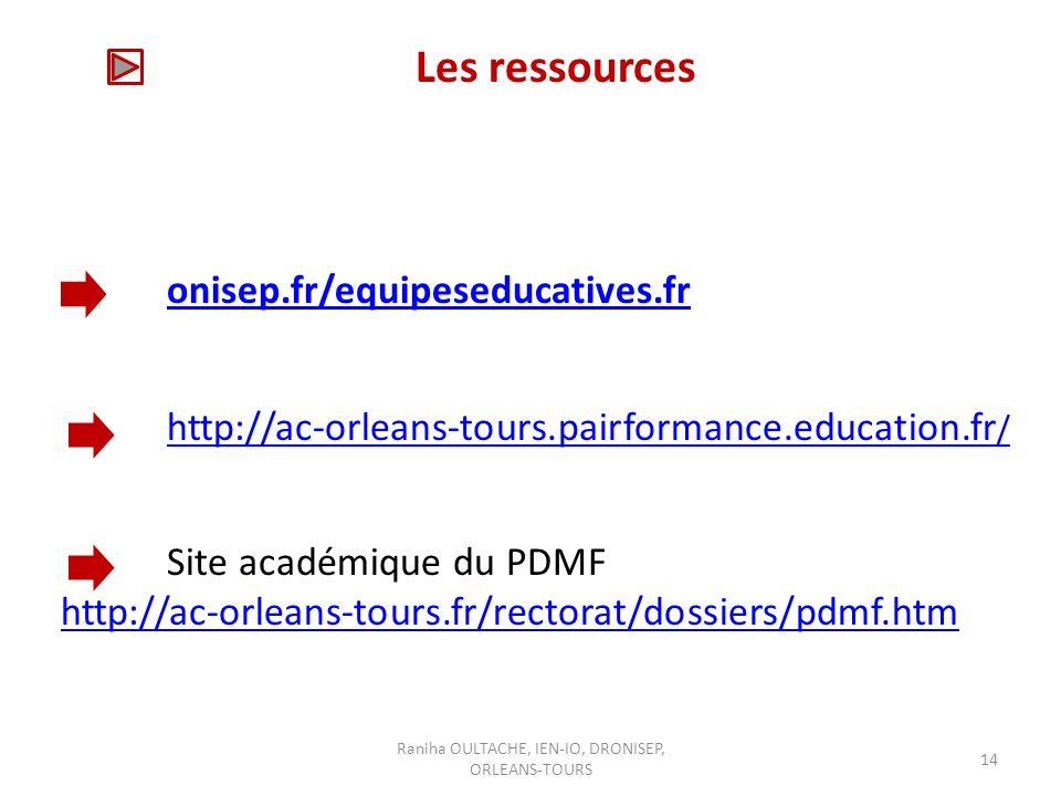 Raniha OULTACHE, IEN-IO, DRONISEP, ORLEANS-TOURS 14 Les ressources onisep.fr/equipeseducatives.fr http://ac-orleans-tours.pairformance.education.fr / Site académique du PDMF http://ac-orleans-tours.fr/rectorat/dossiers/pdmf.htm