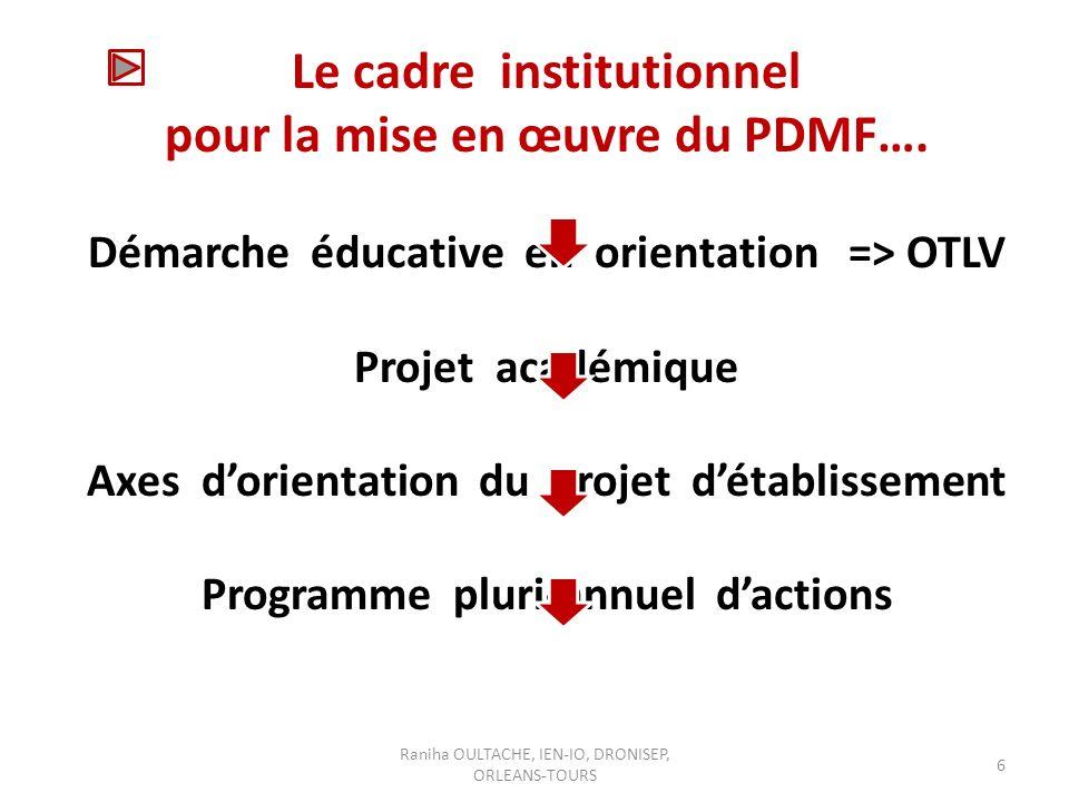 Raniha OULTACHE, IEN-IO, DRONISEP, ORLEANS-TOURS 6 Le cadre institutionnel pour la mise en œuvre du PDMF….