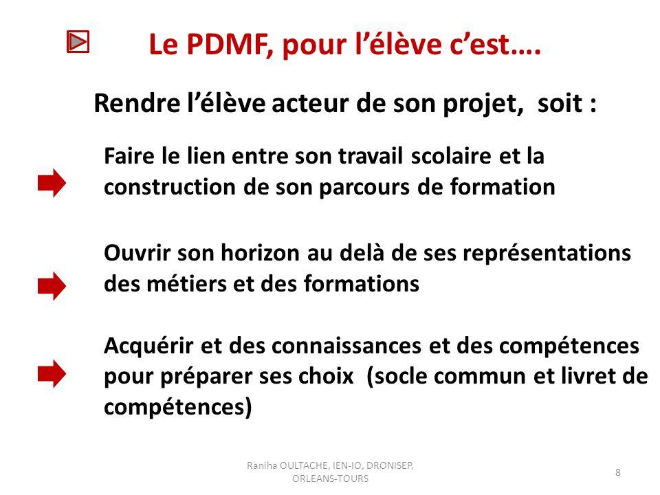 Raniha OULTACHE, IEN-IO, DRONISEP, ORLEANS-TOURS 8 Le PDMF, pour lélève cest….