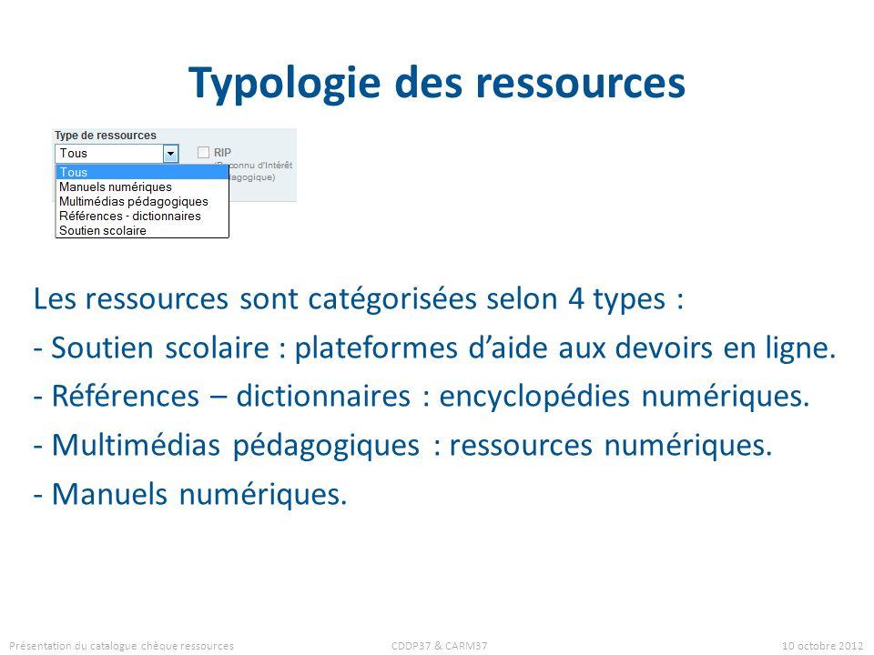 Typologie des ressources Les ressources sont catégorisées selon 4 types : - Soutien scolaire : plateformes daide aux devoirs en ligne. - Références –