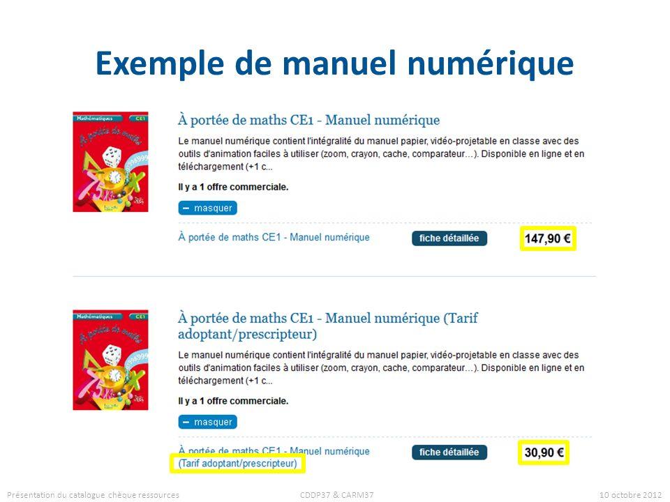 Exemple de manuel numérique Présentation du catalogue chèque ressources CDDP37 & CARM37 10 octobre 2012