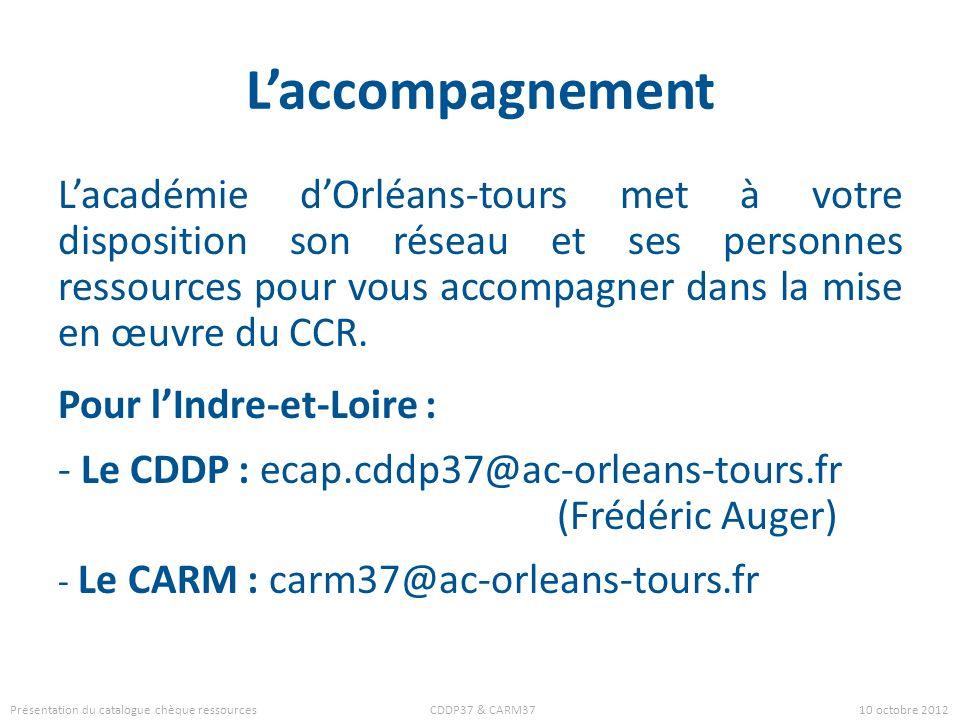 Références Ce diaporama est inspiré de la présentation du CDDP 46 : http://www.cndp.fr/crdp-toulouse/IMG/pdf/CCRcddp46.pdf Ont également servi de sources les sites des académie : dAix-Marseille : http://www.ac-aix-marseille.fr/pedagogie/jcms/c_187731/fr/publication-academique-usage-de-ressources-numeriques de Versailles : http://www.crdp.ac-versailles.fr/ccr et de Nantes : http://www.pedagogie.ac-nantes.fr/77781925/0/fiche___pagelibre/&RH=TICE&RF=1333619181174 Présentation du catalogue chèque ressources CDDP37 & CARM37 10 octobre 2012