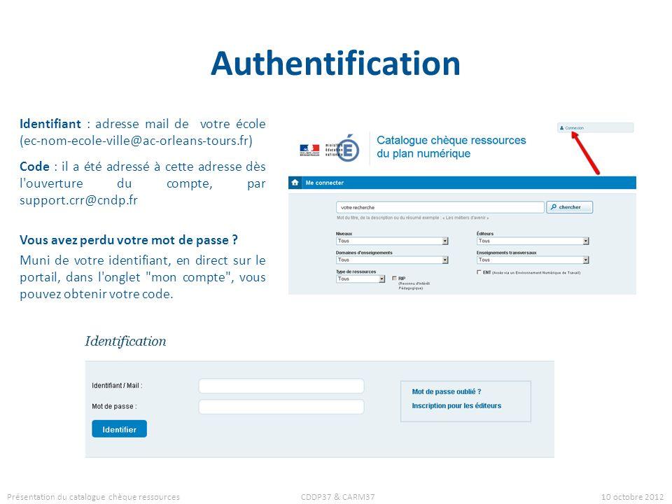 Authentification Identifiant : adresse mail de votre école (ec-nom-ecole-ville@ac-orleans-tours.fr) Code : il a été adressé à cette adresse dès l'ouve