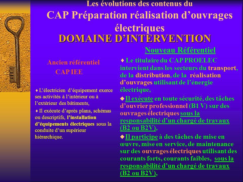 Les aspects nouveaux du CAP PROELEC P réparation et R éalisation d O uvrages élec triques