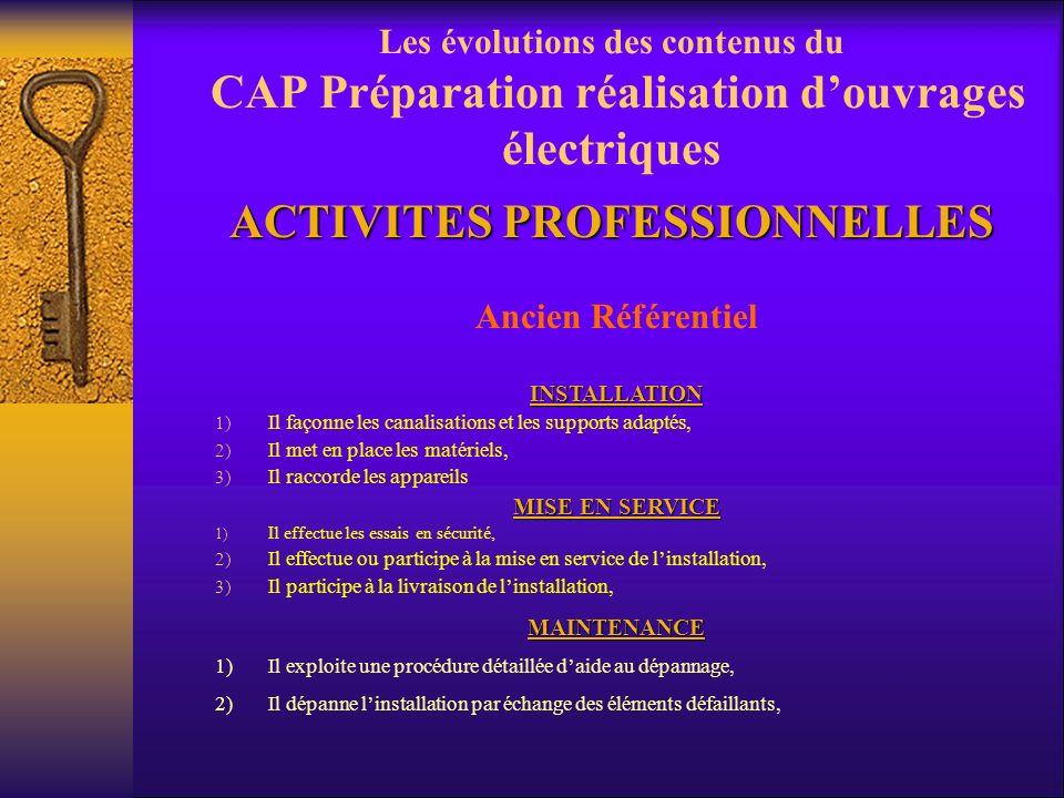 Les évolutions des contenus du CAP Préparation réalisation douvrages électriques Ancien référentiel CAP IEE Lélectricien déquipement exerce ses activi