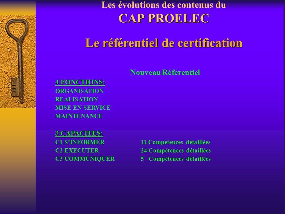 CAP PROELEC Les évolutions des contenus du CAP PROELEC Le référentiel de certification Ancien RéférentielCOMPETENCES 3 CAPACITES: C1 COMMUNIQUER3 Tâch