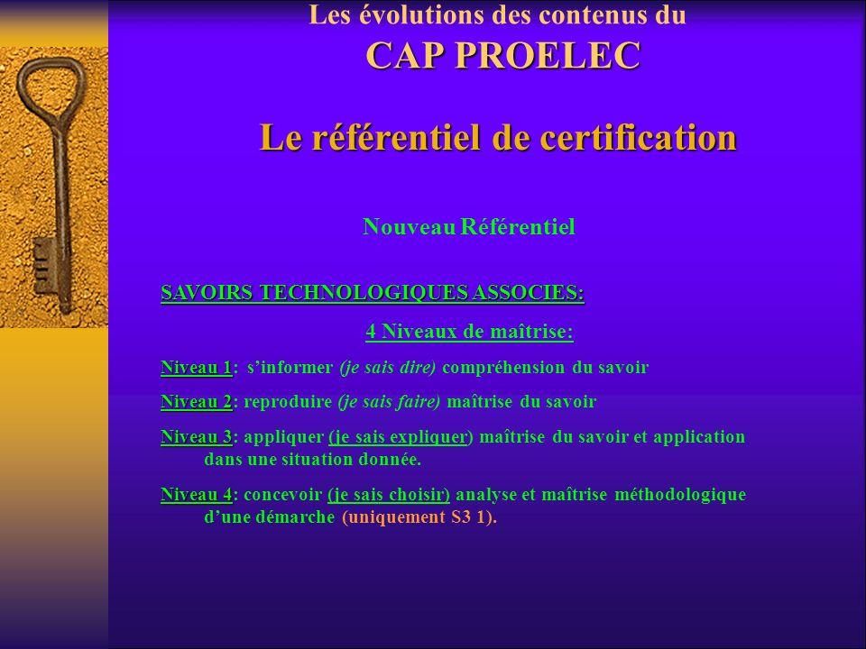 CAP PROELEC Les évolutions des contenus du CAP PROELEC Le référentiel de certification Nouveau Référentiel SAVOIRS TECHNOLOGIQUES ASSOCIES: 7 savoirs
