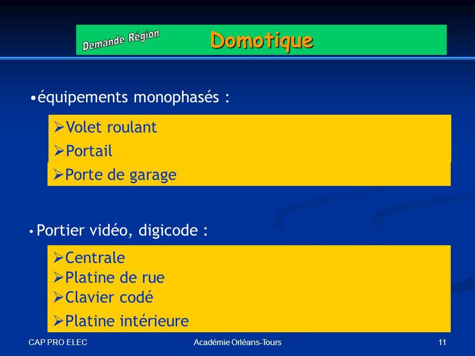 CAP PRO ELEC 11Académie Orléans-ToursDomotique équipements monophasés : Portier vidéo, digicode : Centrale Platine de rue Clavier codé Platine intérie