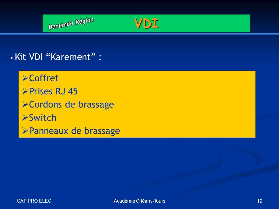 CAP PRO ELEC 12Académie Orléans-ToursVDI Coffret Prises RJ 45 Cordons de brassage Switch Panneaux de brassage Kit VDI Karement :