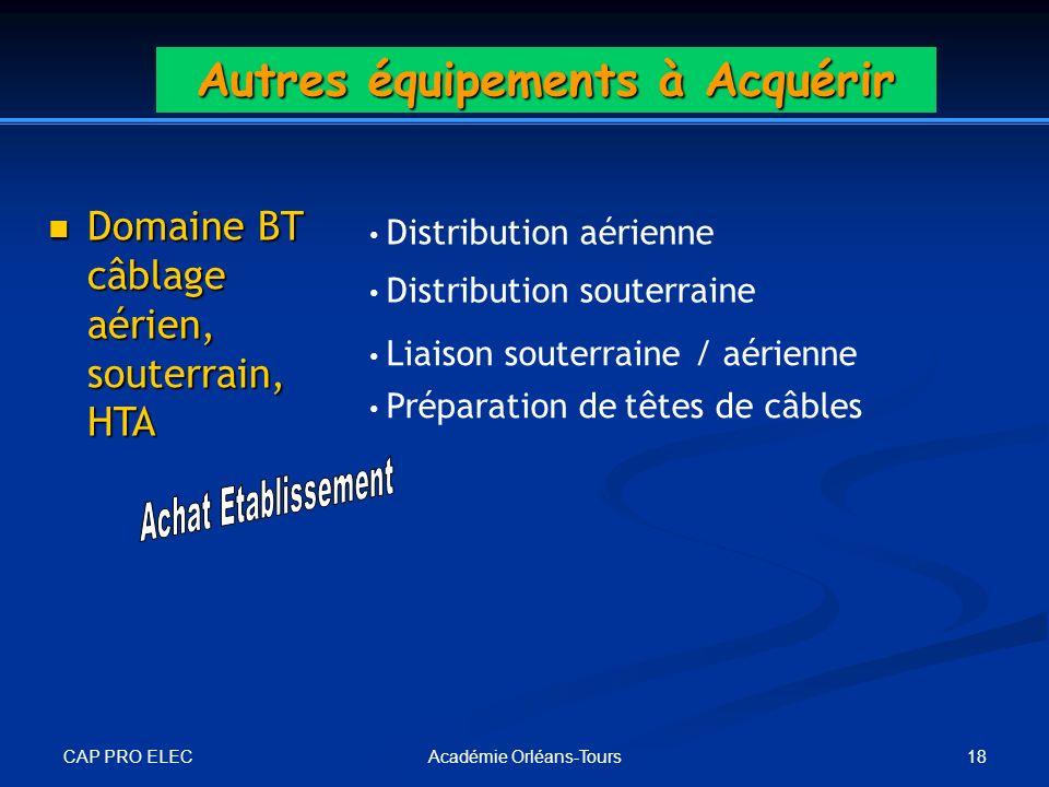 CAP PRO ELEC 18Académie Orléans-Tours Autres équipements à Acquérir Domaine BT câblage aérien, souterrain, HTA Domaine BT câblage aérien, souterrain,