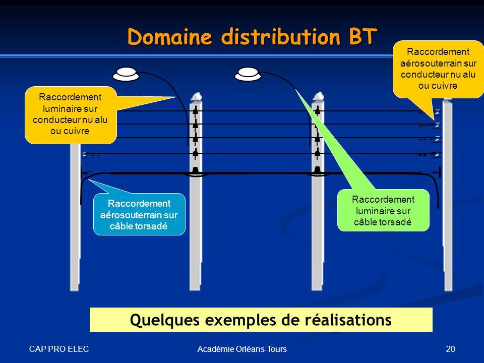 CAP PRO ELEC 20Académie Orléans-Tours Domaine distribution BT Raccordement aérosouterrain sur câble torsadé Raccordement aérosouterrain sur conducteur