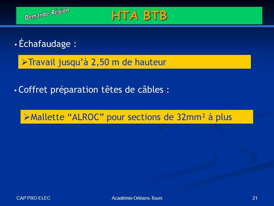 CAP PRO ELEC 21Académie Orléans-Tours Échafaudage : Coffret préparation têtes de câbles : Travail jusquà 2,50 m de hauteur HTA BTB Mallette ALROC pour