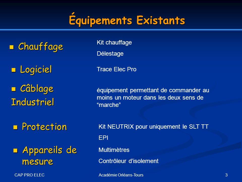 CAP PRO ELEC 3Académie Orléans-Tours Équipements Existants Chauffage Chauffage Kit chauffage Délestage Logiciel Logiciel Trace Elec Pro Câblage Câblag