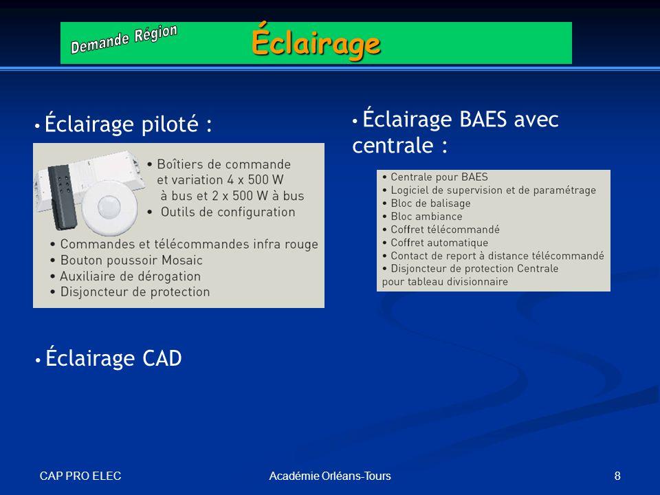 CAP PRO ELEC 8Académie Orléans-ToursÉclairage Éclairage CAD Éclairage piloté : Éclairage BAES avec centrale :