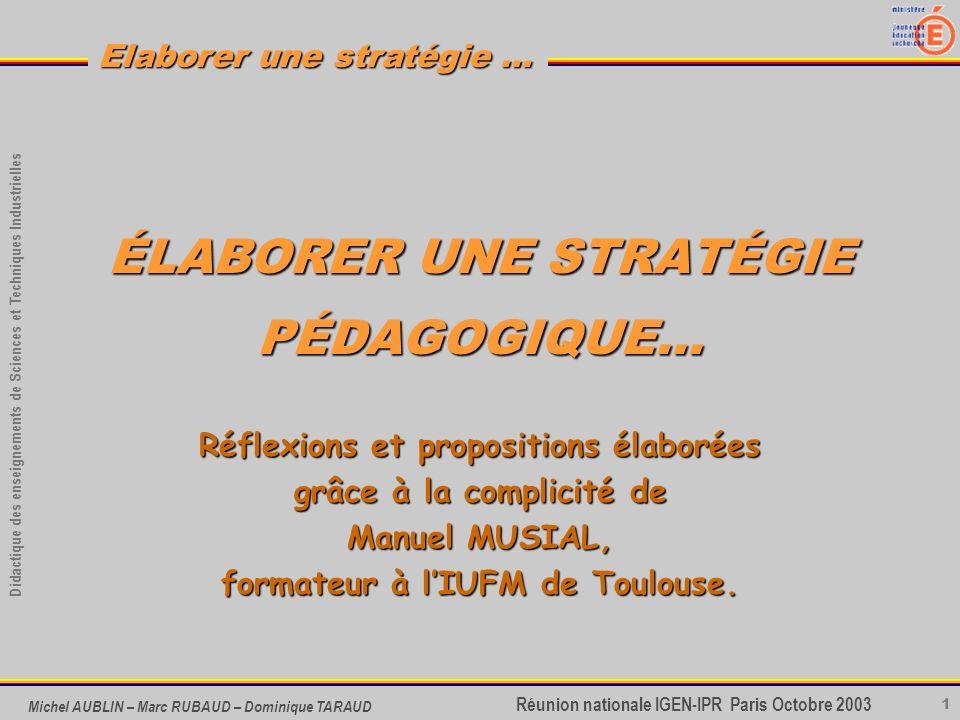 1 Didactique des enseignements de Sciences et Techniques Industrielles Réunion nationale IGEN-IPR Paris Octobre 2003 Elaborer une stratégie … Michel A