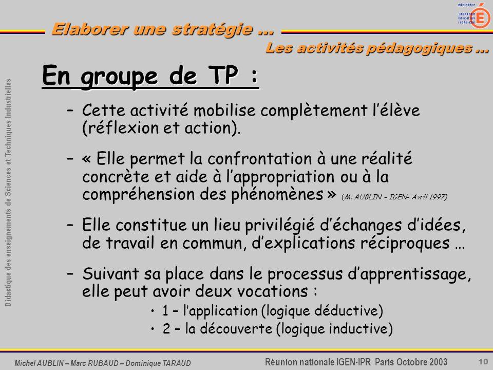 10 Didactique des enseignements de Sciences et Techniques Industrielles Réunion nationale IGEN-IPR Paris Octobre 2003 Elaborer une stratégie … Michel