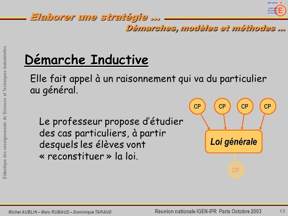 13 Didactique des enseignements de Sciences et Techniques Industrielles Réunion nationale IGEN-IPR Paris Octobre 2003 Elaborer une stratégie … Michel
