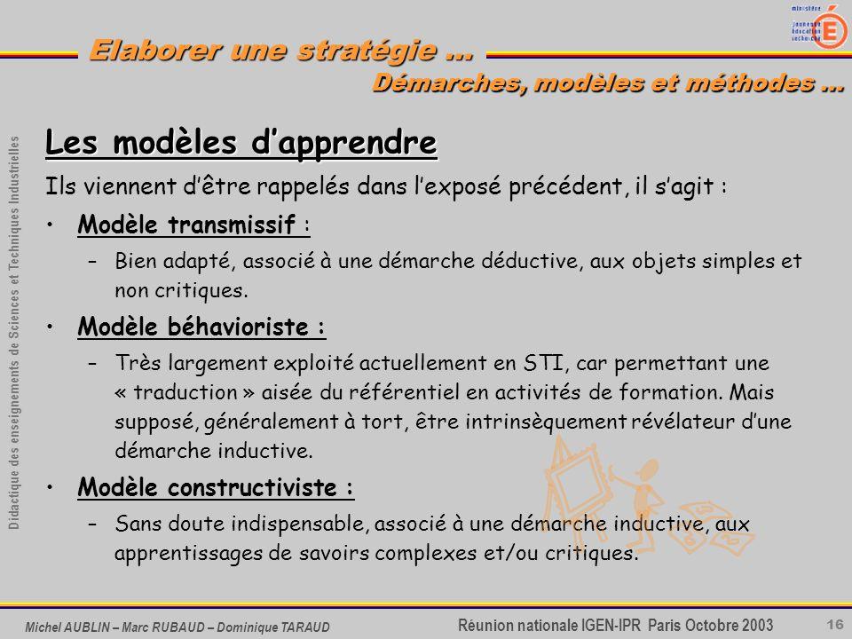 16 Didactique des enseignements de Sciences et Techniques Industrielles Réunion nationale IGEN-IPR Paris Octobre 2003 Elaborer une stratégie … Michel