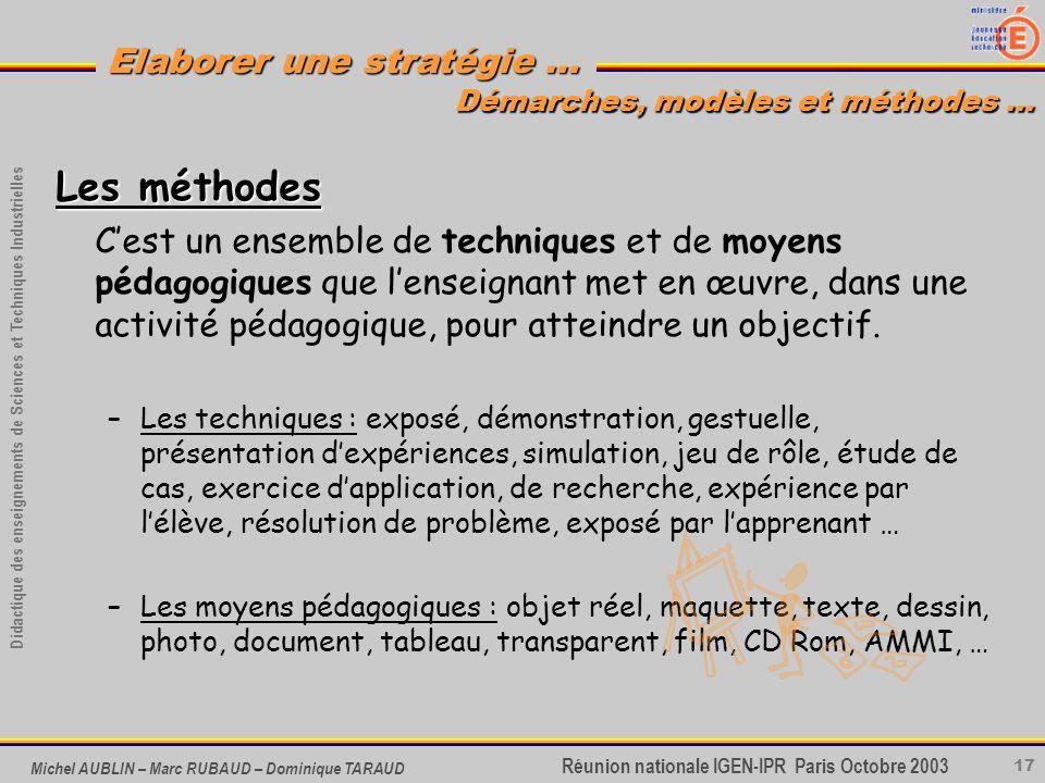 17 Didactique des enseignements de Sciences et Techniques Industrielles Réunion nationale IGEN-IPR Paris Octobre 2003 Elaborer une stratégie … Michel