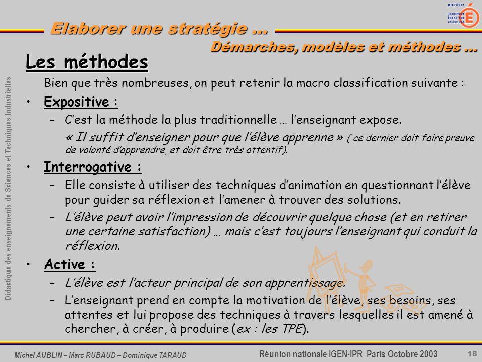 18 Didactique des enseignements de Sciences et Techniques Industrielles Réunion nationale IGEN-IPR Paris Octobre 2003 Elaborer une stratégie … Michel