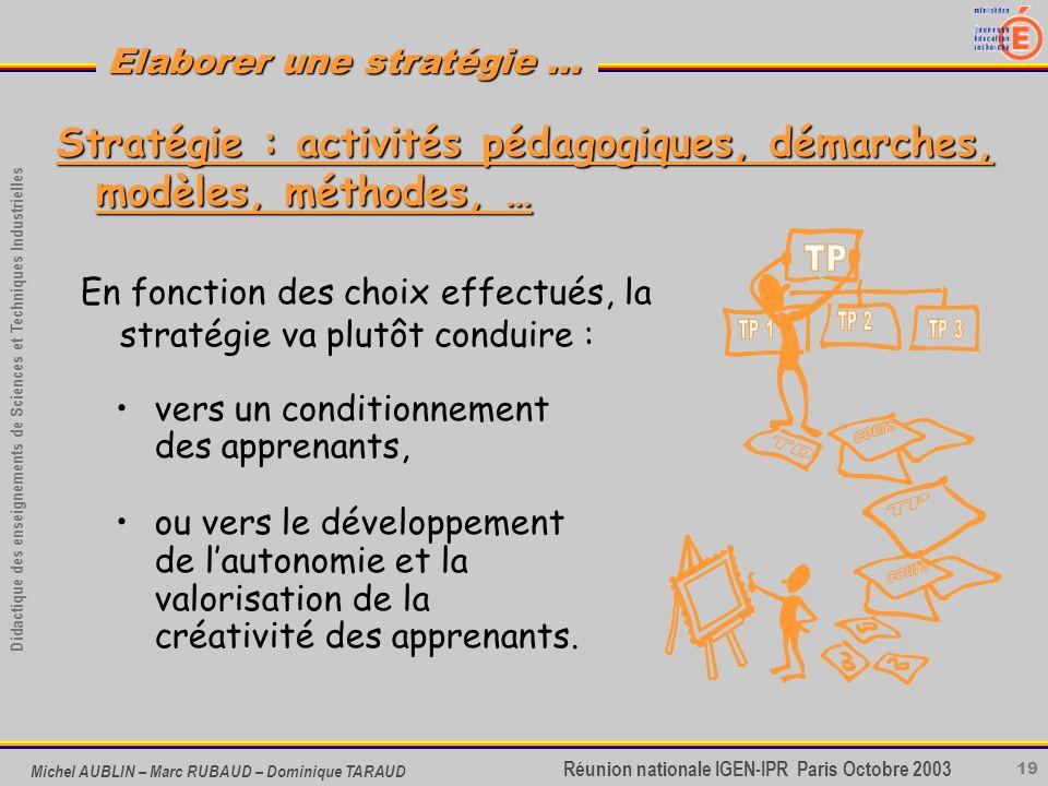 19 Didactique des enseignements de Sciences et Techniques Industrielles Réunion nationale IGEN-IPR Paris Octobre 2003 Elaborer une stratégie … Michel