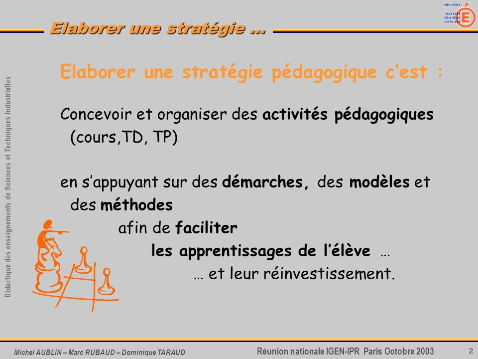 23 Didactique des enseignements de Sciences et Techniques Industrielles Réunion nationale IGEN-IPR Paris Octobre 2003 Elaborer une stratégie … Michel AUBLIN – Marc RUBAUD – Dominique TARAUD Vers des modèles de stratégie … de stratégie …