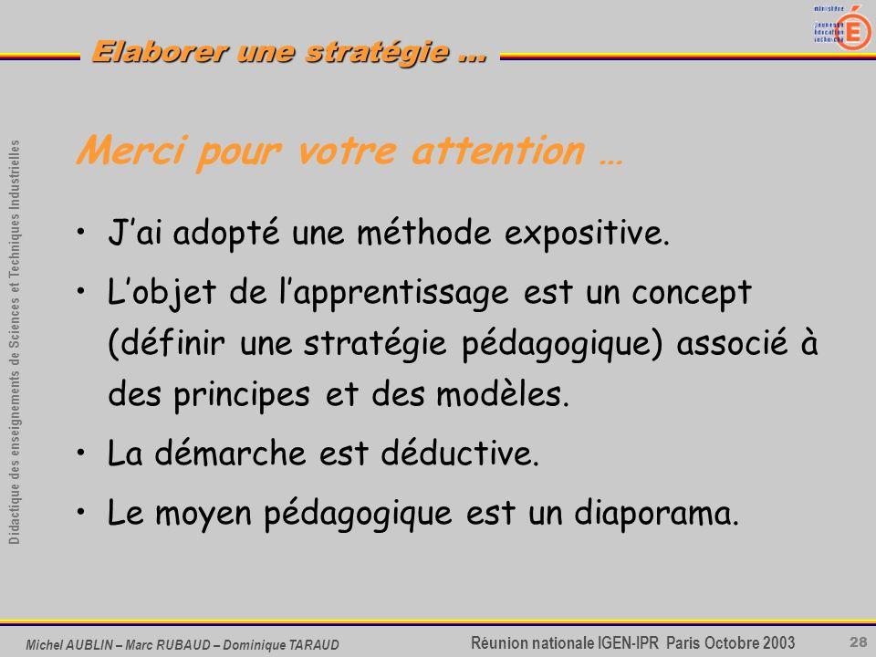 28 Didactique des enseignements de Sciences et Techniques Industrielles Réunion nationale IGEN-IPR Paris Octobre 2003 Elaborer une stratégie … Michel
