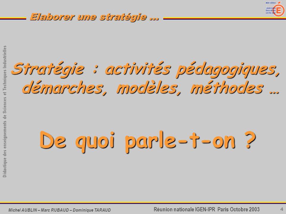 4 Didactique des enseignements de Sciences et Techniques Industrielles Réunion nationale IGEN-IPR Paris Octobre 2003 Elaborer une stratégie … Michel A