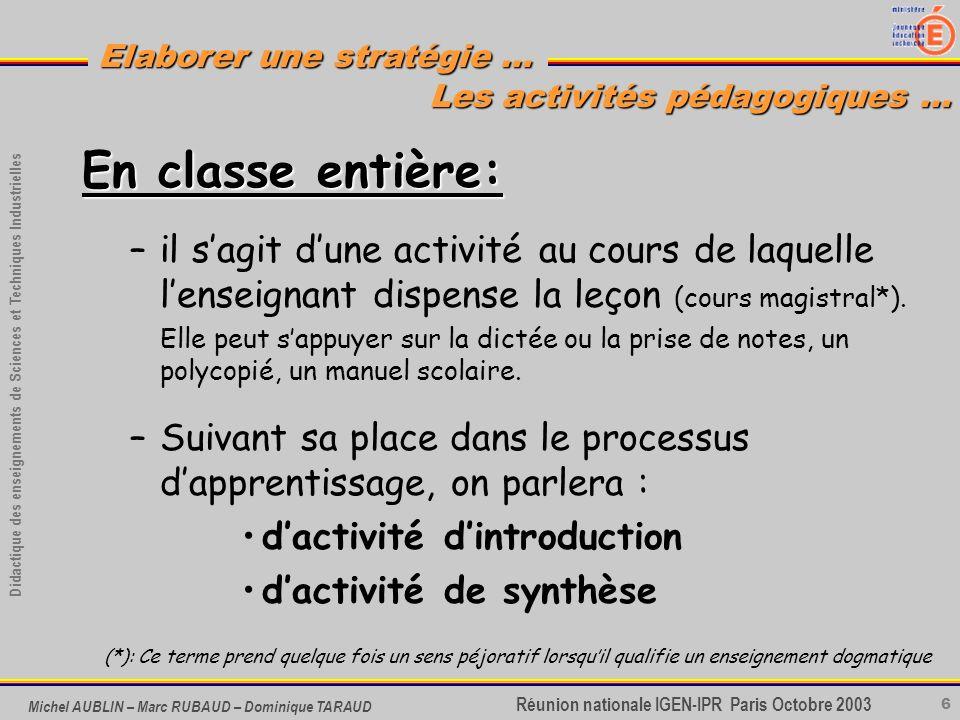 6 Didactique des enseignements de Sciences et Techniques Industrielles Réunion nationale IGEN-IPR Paris Octobre 2003 Elaborer une stratégie … Michel A