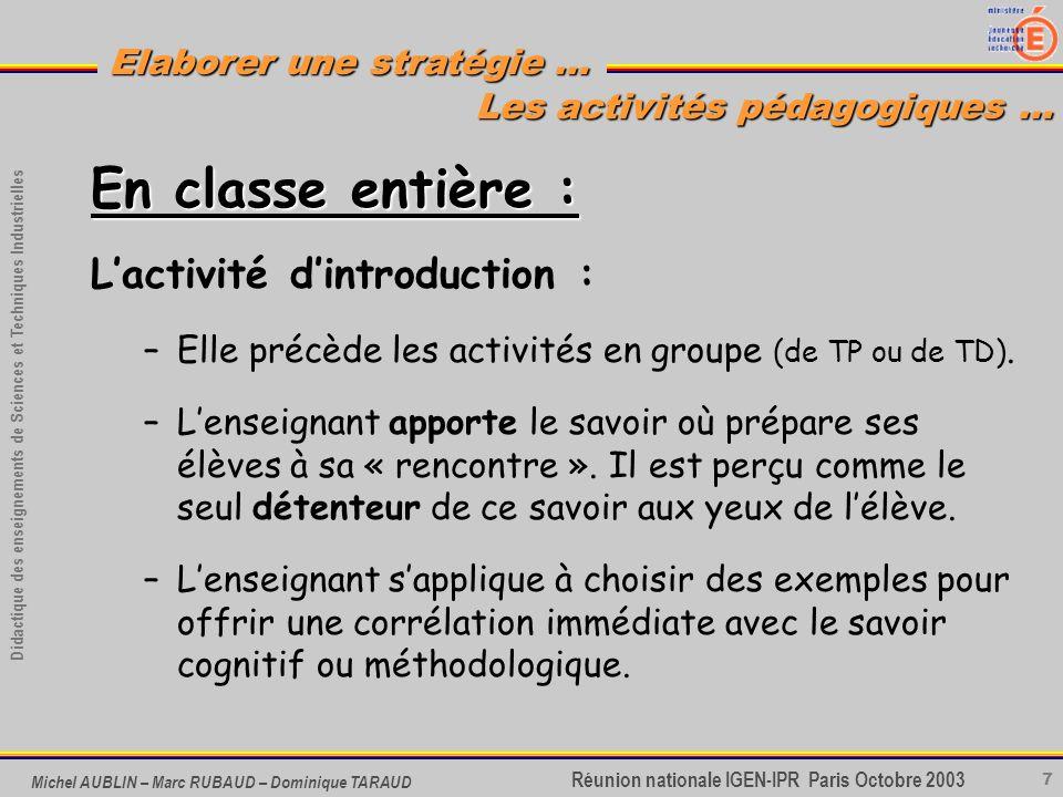 7 Didactique des enseignements de Sciences et Techniques Industrielles Réunion nationale IGEN-IPR Paris Octobre 2003 Elaborer une stratégie … Michel A