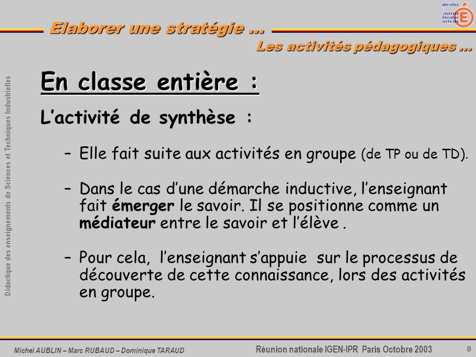 8 Didactique des enseignements de Sciences et Techniques Industrielles Réunion nationale IGEN-IPR Paris Octobre 2003 Elaborer une stratégie … Michel A