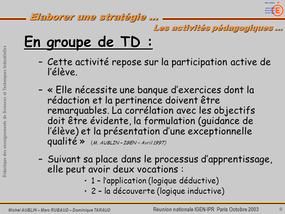 9 Didactique des enseignements de Sciences et Techniques Industrielles Réunion nationale IGEN-IPR Paris Octobre 2003 Elaborer une stratégie … Michel A