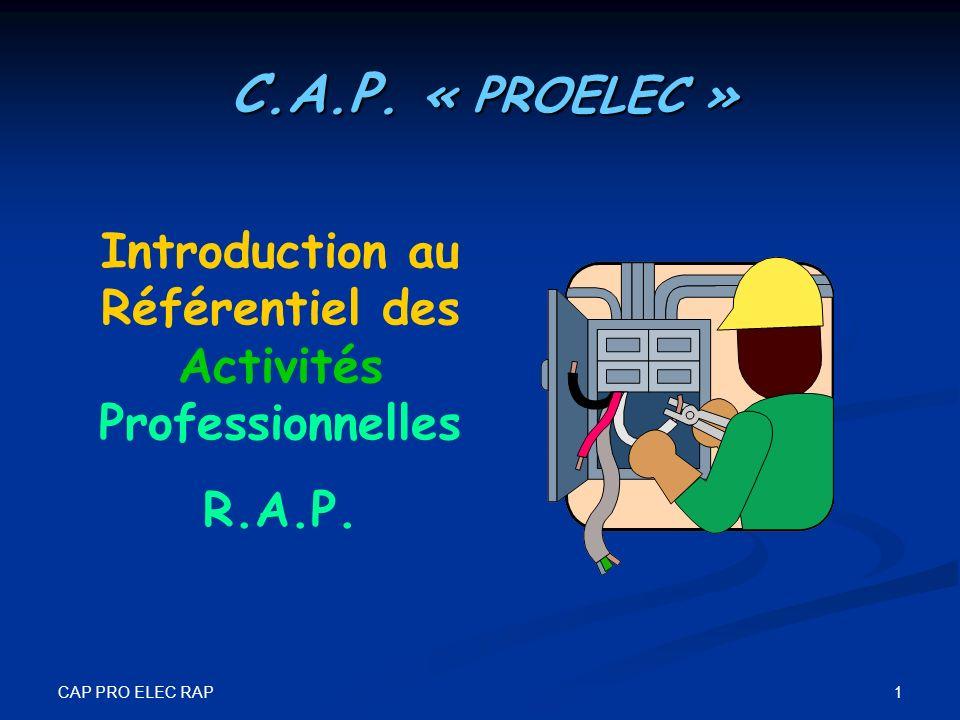 CAP PRO ELEC RAP 1 Introduction au Référentiel des Activités Professionnelles R.A.P. C.A.P. « PROELEC »