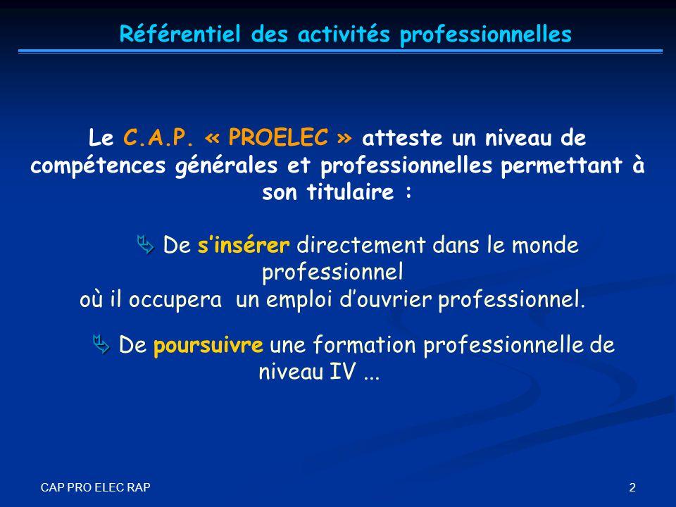 CAP PRO ELEC RAP 3 Référentiel des activités professionnelles Contexte professionnel Le titulaire dun C.A.P.
