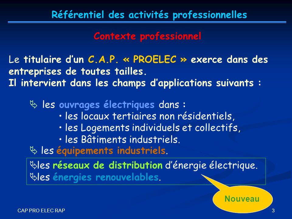 CAP PRO ELEC RAP 4 Les activités du titulaire dun CAP « PROELEC », en tant quouvrier professionnel, sous la responsabilité directe dune personne de qualification supérieure, sont limitées aux fonctions : ORGANISATION (de son poste de travail).