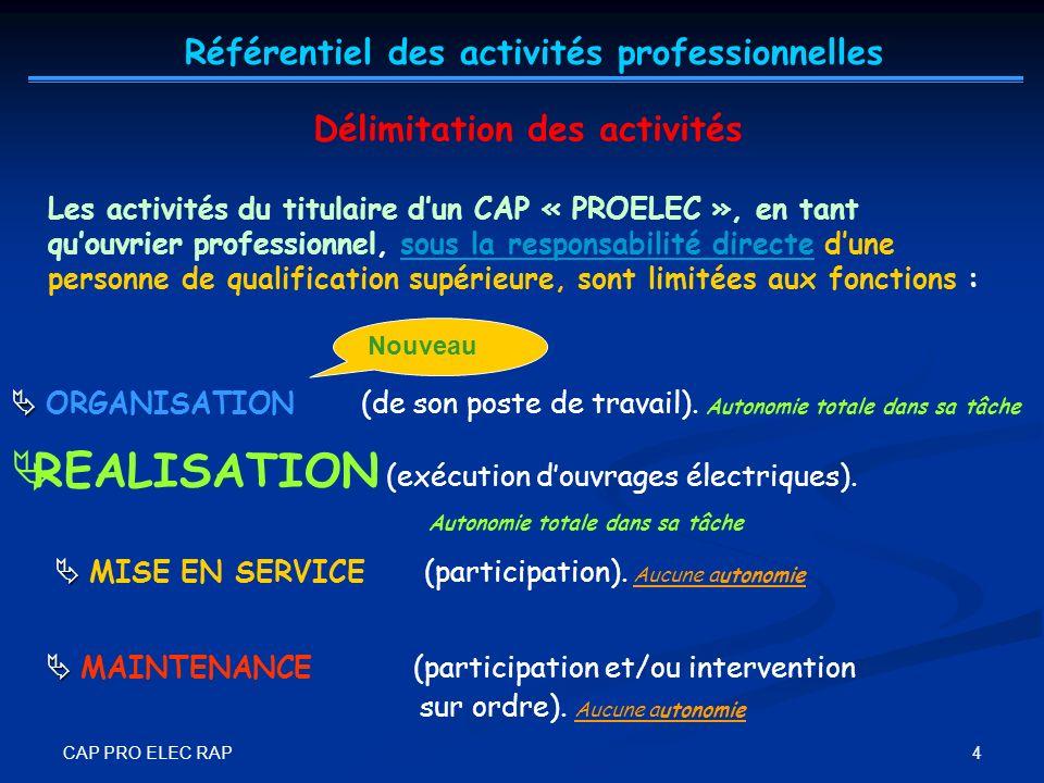 CAP PRO ELEC RAP 4 Les activités du titulaire dun CAP « PROELEC », en tant quouvrier professionnel, sous la responsabilité directe dune personne de qu