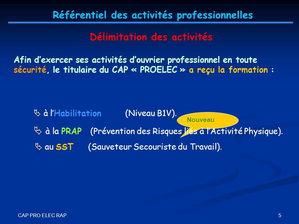 CAP PRO ELEC RAP 5 Nouveau Afin dexercer ses activités douvrier professionnel en toute sécurité, le titulaire du CAP « PROELEC » a reçu la formation :
