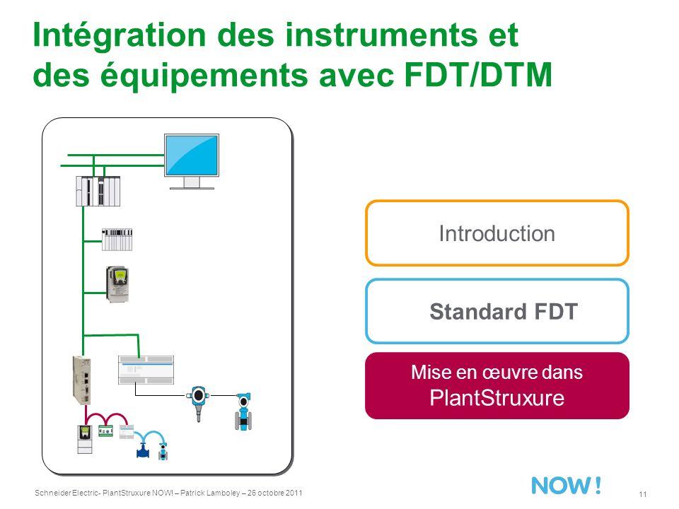 Schneider Electric 11 - PlantStruxure NOW! – Patrick Lamboley – 26 octobre 2011 Intégration des instruments et des équipements avec FDT/DTM Standard F