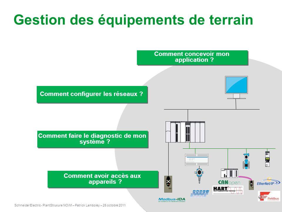 Schneider Electric 3 - PlantStruxure NOW! – Patrick Lamboley – 26 octobre 2011 Gestion des équipements de terrain Comment concevoir mon application ?