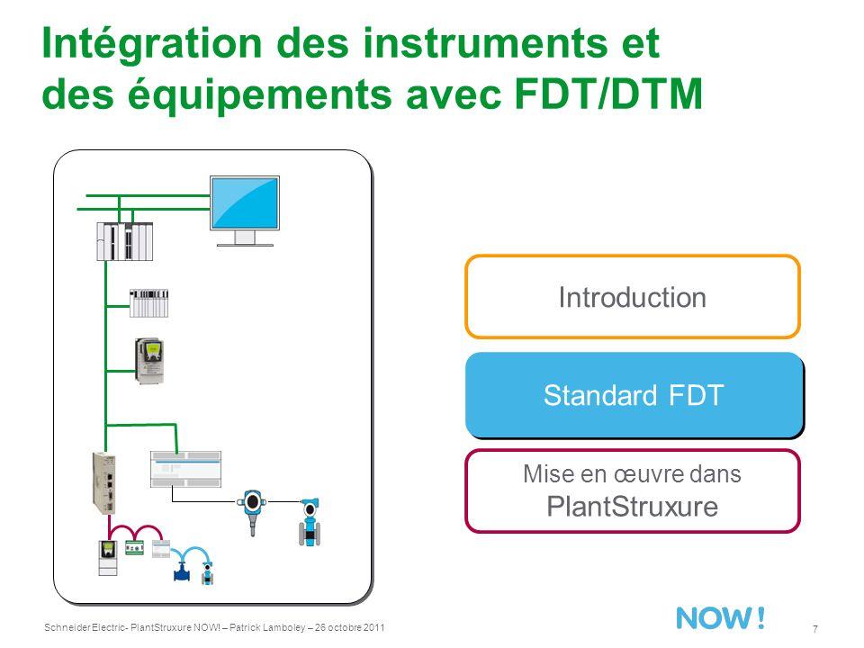 Schneider Electric 7 - PlantStruxure NOW! – Patrick Lamboley – 26 octobre 2011 Intégration des instruments et des équipements avec FDT/DTM Standard FD
