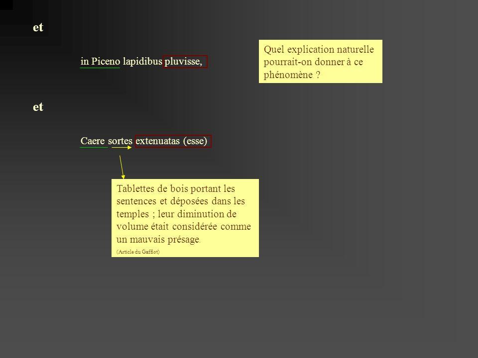 in Piceno lapidibus pluvisse, Caere sortes extenuatas (esse) et Quel explication naturelle pourrait-on donner à ce phénomène .