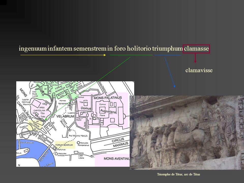 ingenuum infantem semenstrem in foro holitorio triumphum clamasse clamavisse Triomphe de Titus; arc de Titus