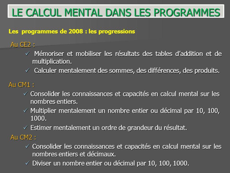 Les programmes de 2008 : les progressions Au CE2 : Mémoriser et mobiliser les résultats des tables daddition et de multiplication. Mémoriser et mobili