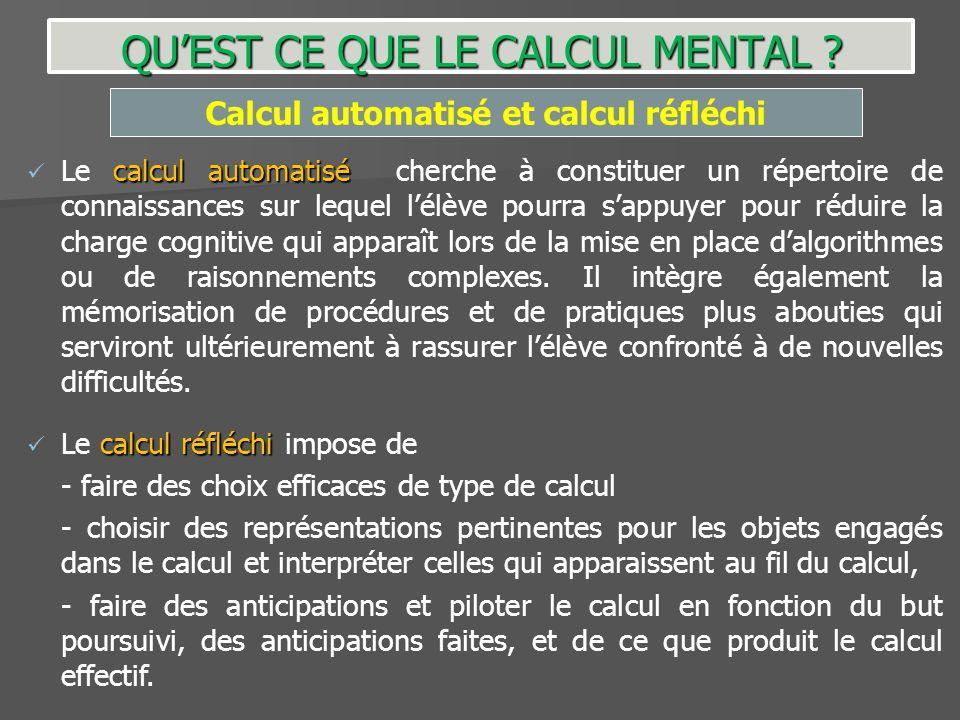 calcul automatisé Le calcul automatisé cherche à constituer un répertoire de connaissances sur lequel lélève pourra sappuyer pour réduire la charge co