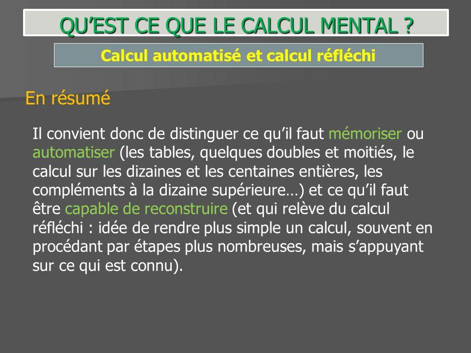 Calcul automatisé et calcul réfléchi QUEST CE QUE LE CALCUL MENTAL ? En résumé Il convient donc de distinguer ce quil faut mémoriser ou automatiser (l
