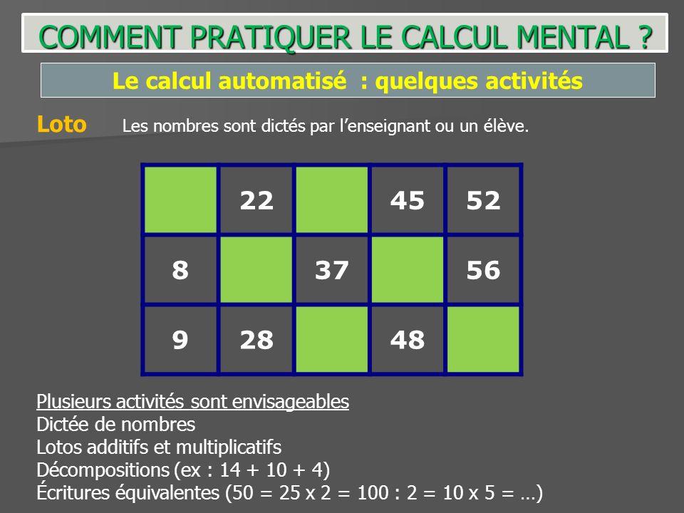 Le calcul automatisé : quelques activités 224552 83756 92848 Loto Les nombres sont dictés par lenseignant ou un élève. Plusieurs activités sont envisa